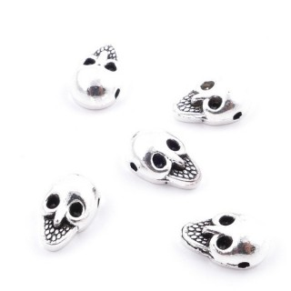 36134-50 PACK OF 40 METAL 10 X 6 MM SKULL SHAPED BEADS