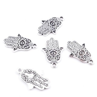 36134-52 PACK OF 25 METAL HAMSA SHAPED 19 X 12 MM CHARMS