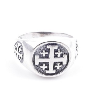 50082-23 STERLING SILVER RING WITH CROSS. WIDTH: 12 MM
