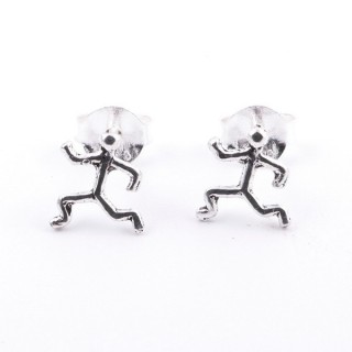 52039-20 STERLING SILVER 925 POST EARRINGS MATCHSTICK MAN 6 MM