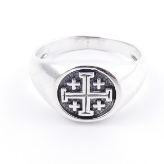 50040-17 STERLING SILVER 12 MM RING WITH JERUSALEM CROSS SIZE 17
