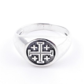 50040-18 STERLING SILVER 12 MM RING WITH JERUSALEM CROSS SIZE 18