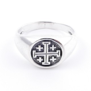 50040-19 STERLING SILVER 12 MM RING WITH JERUSALEM CROSS SIZE 19