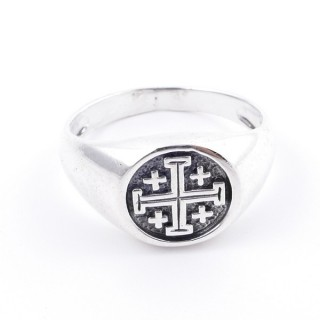 50040-20 STERLING SILVER 12 MM RING WITH JERUSALEM CROSS SIZE 20