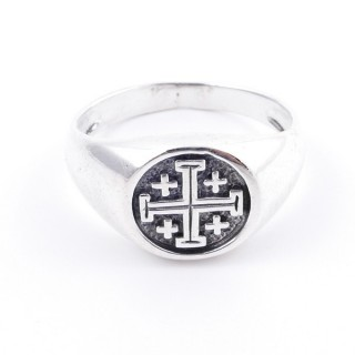 50040-21 STERLING SILVER 12 MM RING WITH JERUSALEM CROSS SIZE 21