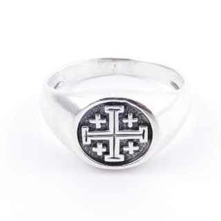 50040-22 STERLING SILVER 12 MM RING WITH JERUSALEM CROSS SIZE 22