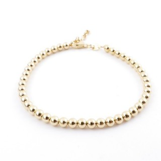 36477 SILVER 4 MM BALL BRACELET WITH GOLDEN PLATING 18 X 3 CM PL 4 GIALLO