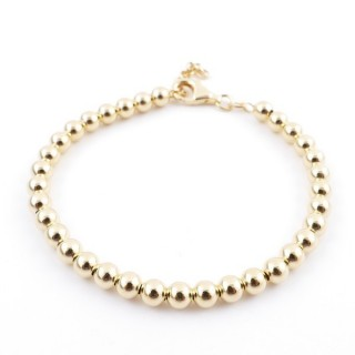 36478 SILVER 5 MM BALL BRACELET WITH GOLDEN PLATING 18 X 3 CM PL 5 GIALLO