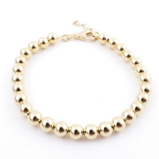 36479 SILVER 6 MM BALL BRACELET WITH GOLDEN PLATING 18 X 3 CM PL 6 GIALLO