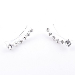 52142-19 STERLING SILVER 20 MM CLIMBER EARRINGS WITH GLASS STONES