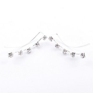 52142-25 STERLING SILVER 20 MM CLIMBER EARRINGS WITH GLASS STONES