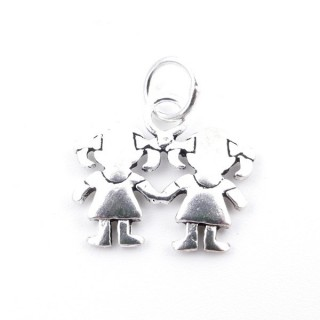 28919 STERLING SILVER 925 PENDANT WITH 2 GIRLS 13 X 15 MM