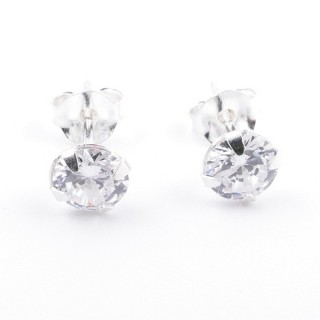 34325 SILVER POST EARRINGS WITH 5 MM ROUND GLASS STONE