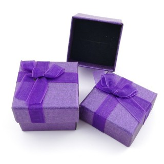 18819-02 PACK OF 24 GIFT BOXES FOR RINGS 4 X 4 CM IN PURPLE