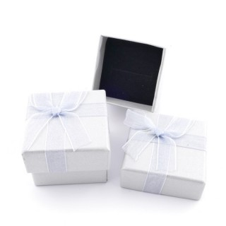18819-08 PACK OF 24 GIFT BOXES FOR RINGS 4 X 4 CM IN SILVER