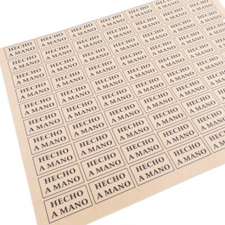 "33082 SHEET OF 70 ADHESIVE 43 X 23 MM ""HECHO A MANO"" STICKERS"