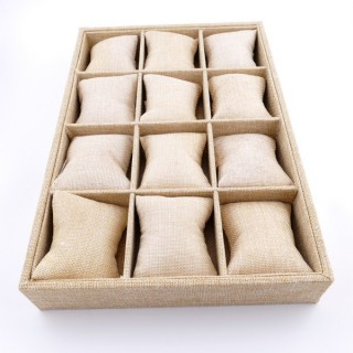 36337 BEIGE JUTE 35 X 24 X 5 CM TRAY WITH 12 PILLOWS