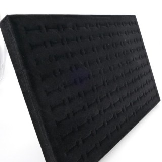 20410 BLACK VELVET DISPLAY TRAY WITH STAND AND 100 SLOTS FOR RINGS 35 X 24 CM