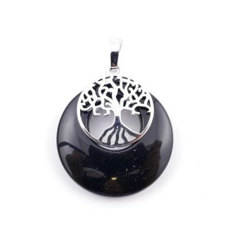 37317-04 ONYX STONE 28 MM PENDANT WITH METAL TREE OF LIFE
