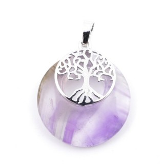 37317-05 AMETHYST STONE 28 MM PENDANT WITH METAL TREE OF LIFE