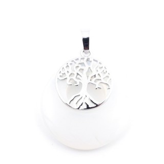 37317-08 OPALINE STONE 28 MM PENDANT WITH METAL TREE OF LIFE
