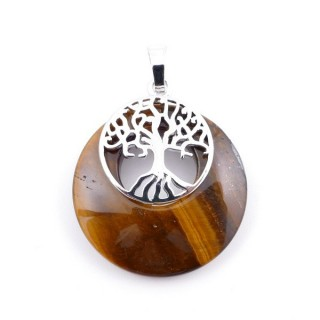 37317-09 TIGER'S EYE STONE 28 MM PENDANT WITH METAL TREE OF LIFE