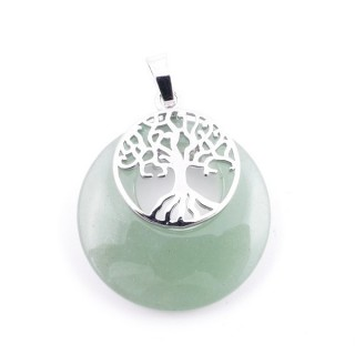 37317-12 GREEN AVENTURINE STONE 28 MM PENDANT WITH METAL TREE OF LIFE