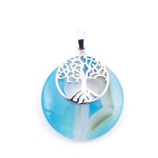 37317-28 AGATE STONE 28 MM PENDANT WITH METAL TREE OF LIFE