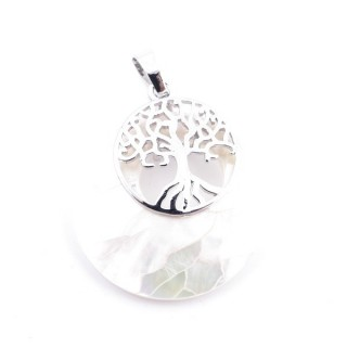 37317-32 ABALONE SHELL 28 MM PENDANT WITH METAL TREE OF LIFE