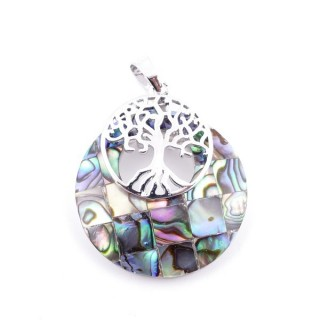 37317-33 ABALONE SHELL 28 MM PENDANT WITH METAL TREE OF LIFE