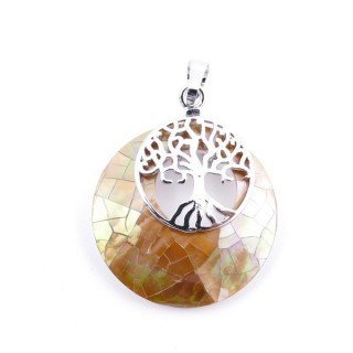37317-34 ABALONE SHELL 28 MM PENDANT WITH METAL TREE OF LIFE