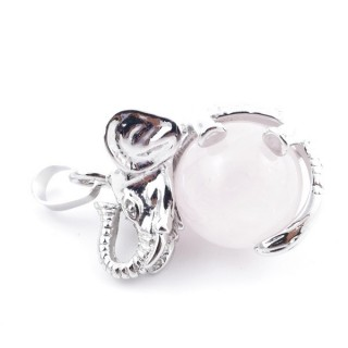 37311-02 ELEPHANT SHAPED METAL PENDANT WITH 16 MM BALL IN ROSE QUARTZ STONE