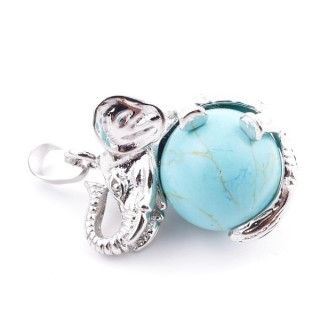 37311-03 ELEPHANT SHAPED METAL PENDANT WITH 16 MM BALL IN SYNTHETIC TURQUOISE STONE