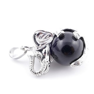 37311-04 ELEPHANT SHAPED METAL PENDANT WITH 16 MM BALL IN ONYX STONE