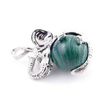 37311-06 ELEPHANT SHAPED METAL PENDANT WITH 16 MM BALL IN SYNTHETIC MALACHITE STONE