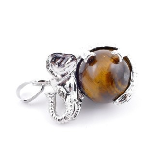 37311-09 ELEPHANT SHAPED METAL PENDANT WITH 16 MM BALL IN TIGER'S EYE STONE