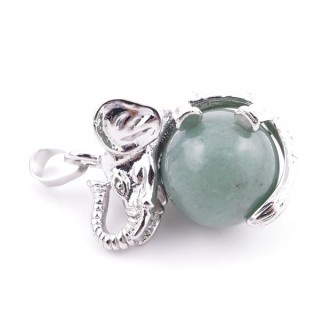 37311-12 ELEPHANT SHAPED METAL PENDANT WITH 16 MM BALL IN GREEN AVENTURINE STONE
