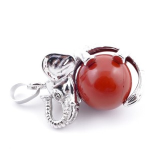 37311-15 ELEPHANT SHAPED METAL PENDANT WITH 16 MM BALL IN RED JASPER STONE