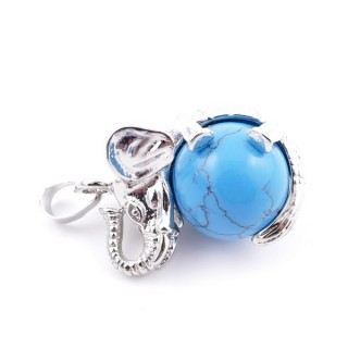 37311-19 ELEPHANT SHAPED METAL PENDANT WITH 16 MM BALL IN SYNTHETIC BLUE TURQUOISE STONE