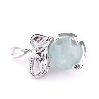 37311-25 ELEPHANT SHAPED METAL PENDANT WITH 16 MM BALL IN FLUORITE STONE