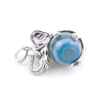 37311-28 ELEPHANT SHAPED METAL PENDANT WITH 16 MM BALL IN AGATE STONE