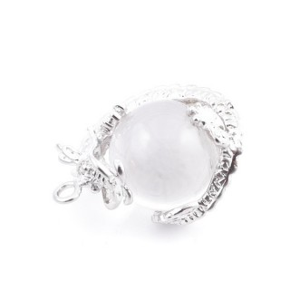 37304-01 DRAGON SHAPED METAL PENDANT WITH 16 MM BALL IN WHITE QUARTZ STONE