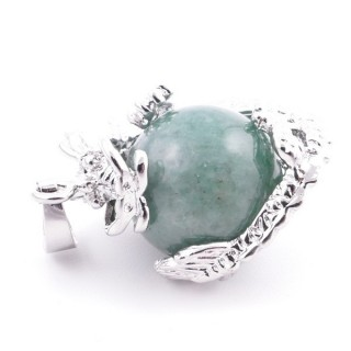 37304-12 DRAGON SHAPED METAL PENDANT WITH 16 MM BALL IN GREEN AVENTURINE STONE
