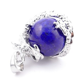 37304-13 DRAGON SHAPED METAL PENDANT WITH 16 MM BALL IN LAPIS LAZULI STONE
