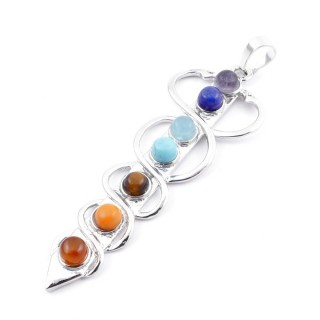 23004-45 METAL PENDANT MADE WITH 7 CHAKRA STONES