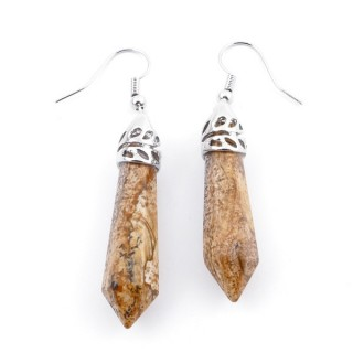 24106-23 WOOD JASPER FISH HOOK EARRINGS WITH NATURAL STONE