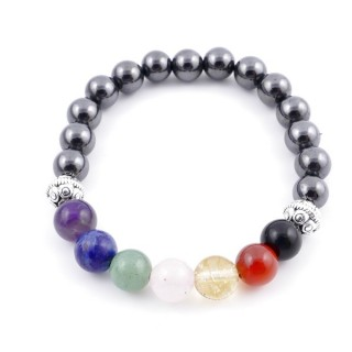 36303-04 MAGNETIC HEMATITE AND 7 CHAKRA STONE 8 MM ELASTIC BRACELET