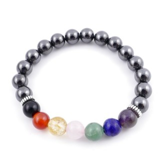 36303-09 MAGNETIC HEMATITE AND 7 CHAKRA STONE 8 MM ELASTIC BRACELET