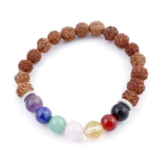 36303-10 SYNTHETIC RUDRAKSHA AND 7 CHAKRA STONE 8 MM ELASTIC BRACELET