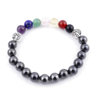 36303-14 MAGNETIC HEMATITE AND 7 CHAKRA STONE 8 MM ELASTIC BRACELET